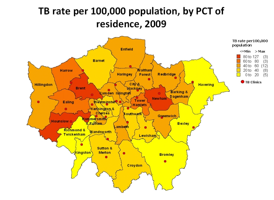 TB rate per 100,000 population, by PCT of residence, 2009