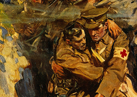 Oil painting of a red cross medic helping a soldier