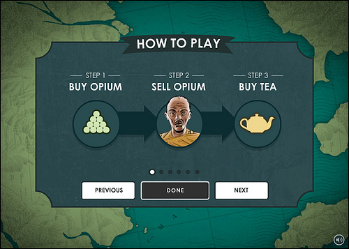 High Tea game instructions: buy opium, sell opium, buy tea