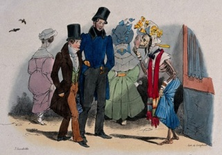 Two men are approached by a prostitute. Lithograph by Grandville. Wellcome Images