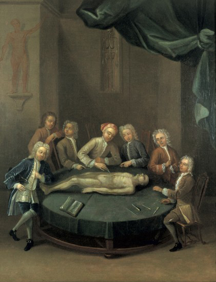 William Cheselden giving an anatomical demonstration to six spectators in the anatomy-theatre of the Barber-Surgeons' Company, London. Wellcome Images