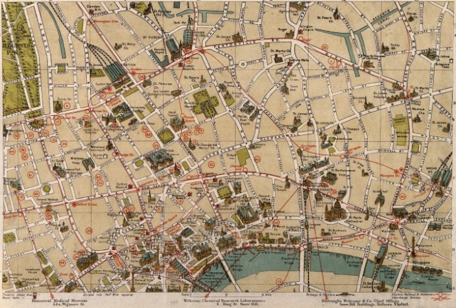 A map of London: showing sites of medical and other interest, 1913. Wellcome Images.