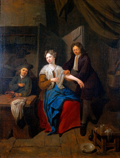Jan Baptist Lambrechts: A surgeon preparing to let blood by cupping, his apprentice. Wellcome Images