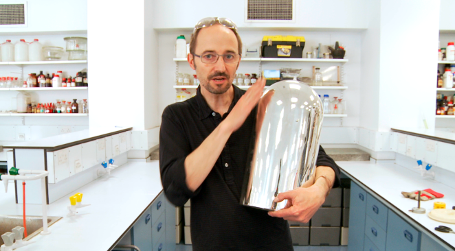 Andrea Sella with a silver lined dewar flask
