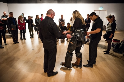 Sophie Morgan uses the Rex exoskeleton