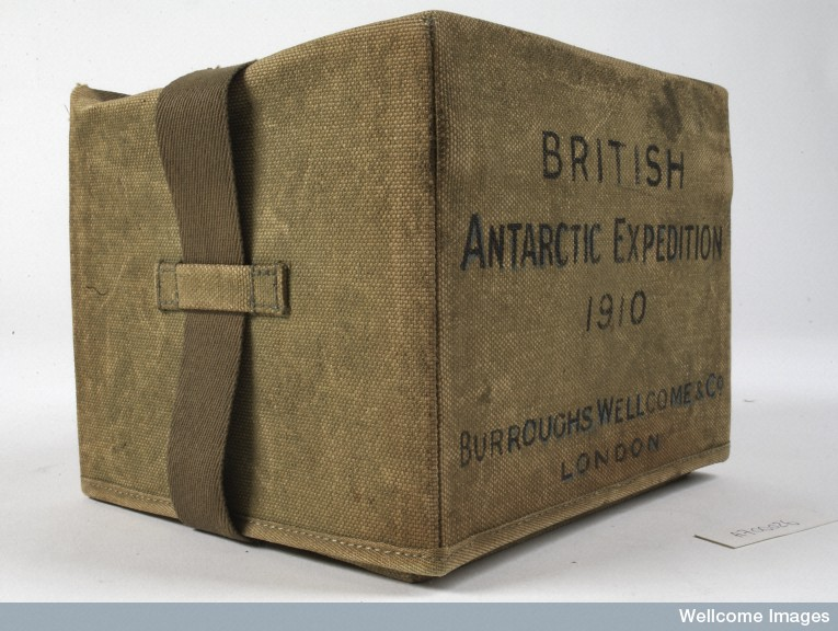 A Burroughs Wellcome Co medicine chest used on the British Antarctic Expedition