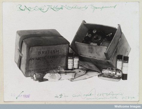 Tabloid medicine chest issued to the Scott Polar Expedition, found with their bodies