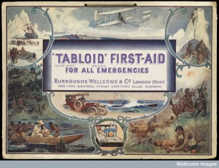 Advertisement for Burroughs Wellcome showing various situations in which a Tabloid medicine chest would be useful