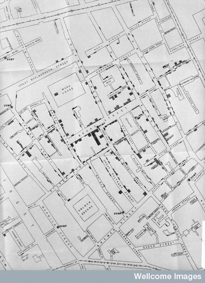 John Snow, Area around Golden Square during Cholera Epidemic. Wellcome Images