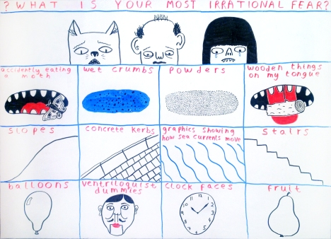 Rob Bidder's #CuriousConversations illustration, Irrationals Fears: First Batch.
