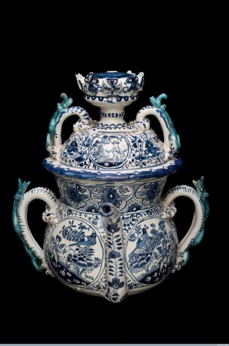 Elaborate posset pot, tin glazed earthenware, English. Credit: Science Museum, London. Wellcome Images