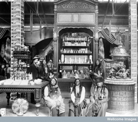 Burroughs Wellcome exhibit at the Chicago Exhibition of 1893. Wellcome, wearing a hat, is on the left.