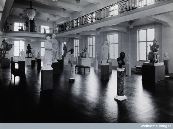 The Wellcome Research Institution's building, Euston Road, London: the Hall of Statuary of the Wellcome Historical Medical Museum as arranged in the 1930s
