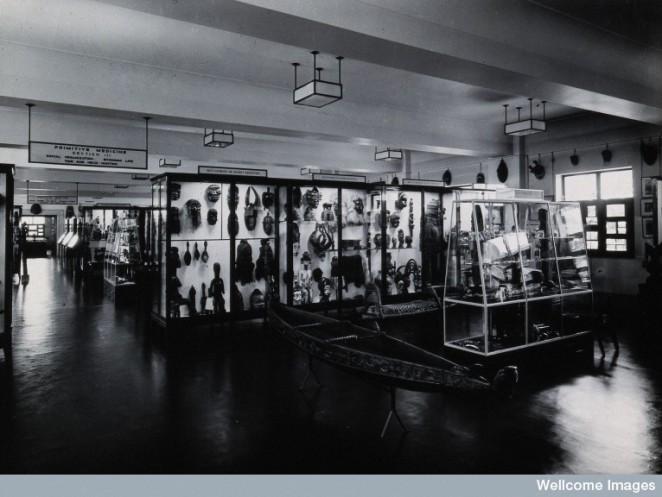 Looking through the Primitive Medicine Gallery of the Wellcome Historical Medical Museum, 1939.