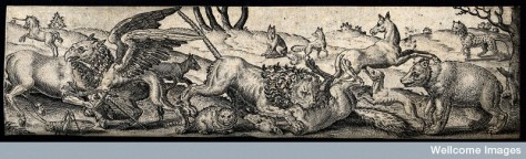 A fight among animals: a unicorn is fighting a griffon and a lion is killing a fox while other animals are fleeing or watching on.