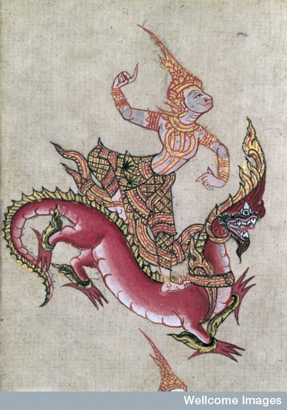 Illustration of a male devata (i.e. lesser deity) riding a large dragon.