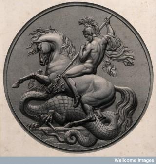 Saint George. Line engraving, 1851.