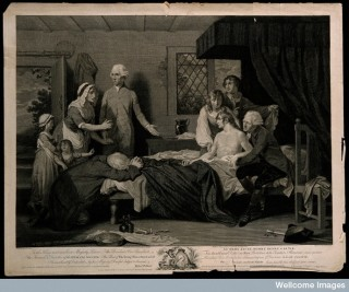 A man recuperating in bed at a receiving-house of the Royal Humane Society, after resuscitation by W. Hawes from near drowning.
