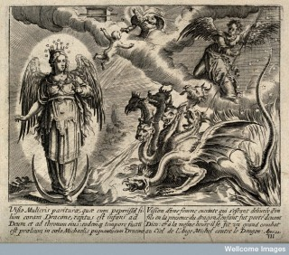 The woman clothed with the sun is attacked by a seven-headed dragon (representing the 12th Book of Revelation).