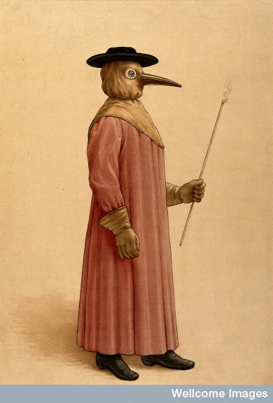 A physician wearing a 17th century plague preventive costume.