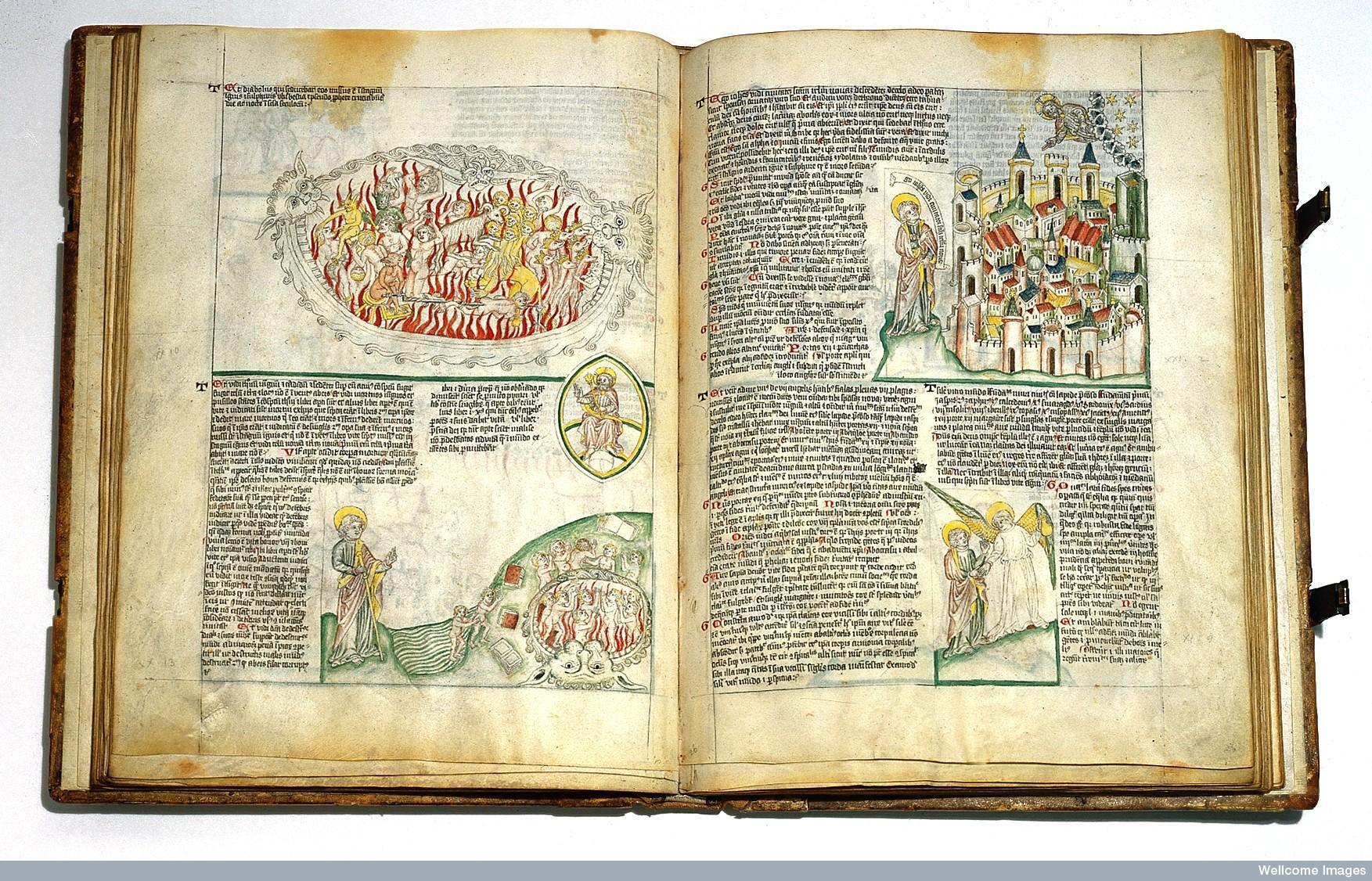 Satan as a dragon thrown into hell, circa 1420-30.