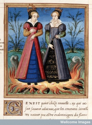 Two Christian princesses who could not be harmed by fire, 1560. From Histoires prodigieuses.