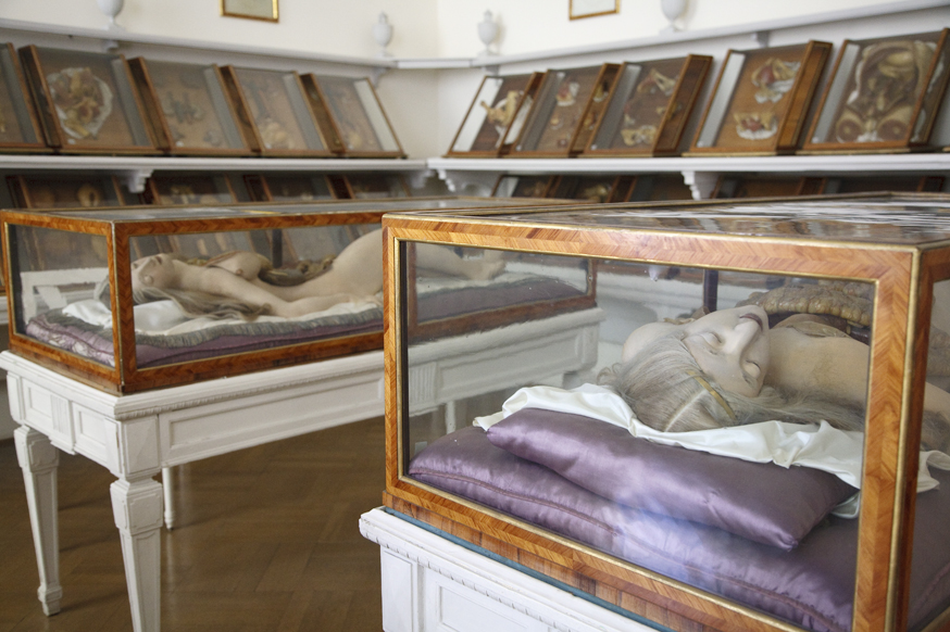 """Anatomical Venuses,"" Wax Models with human hair in rosewood and Venetian glass cases,The Josephinum, Workshop of Clemente Susini of Florence circa 1780s, Vienna, Austria. Photo by Joanna Ebenstein, Morbid Anatomy"
