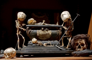 Fetal Skeleton Tableau, 17th Century, University Backroom, Paris. Photo by Joanna Ebenstein, Morbid Anatomy