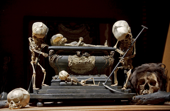 Fetal Skeleton Tableau, 17th Century, University Backroom, Paris. Photo by Joanna Ebenstein, Morbid Anatomy