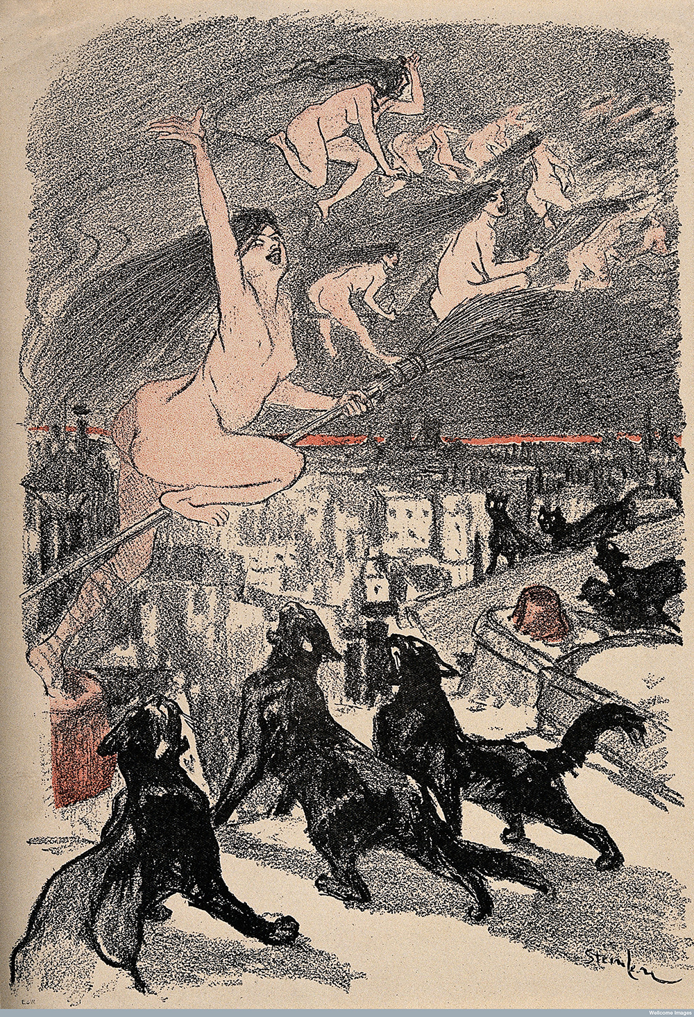 Big black cats howl as naked witches ascend into the night, by T.A. Steinlen.