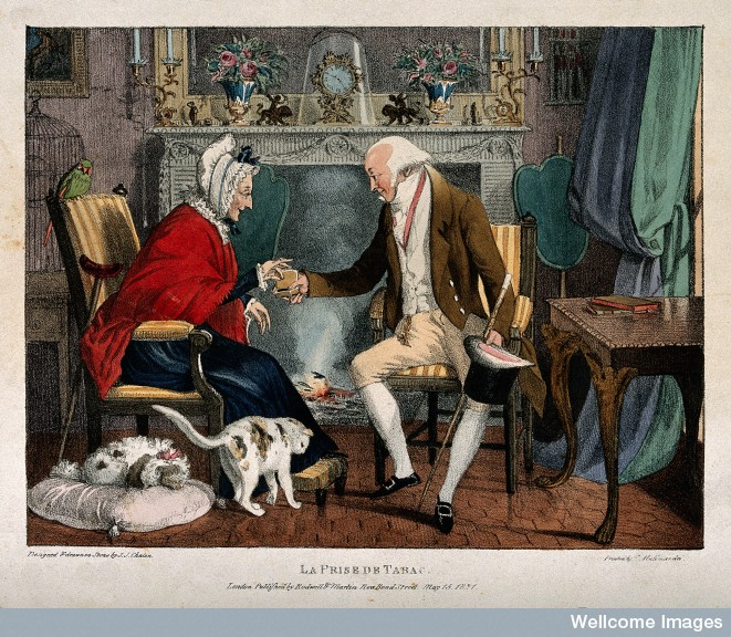 A gentleman visitor offering snuff to a woman at her fireside.