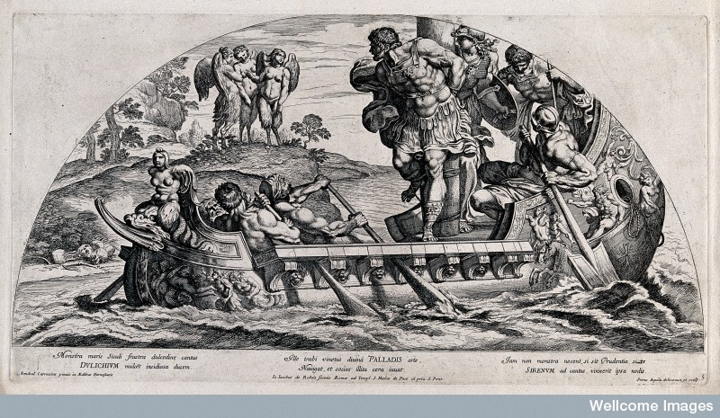 Ulysses [Odysseus] and the Sirens. Etching by P. Aquila.