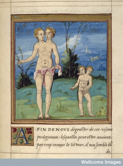 Portrait of two monsters. Histoires prodigieuses, 1560.