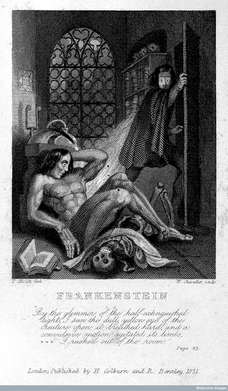 Frankenstein observing the first stirrings of his creature. Engraving by W. Chevalier after Th. von Holst, 1831.