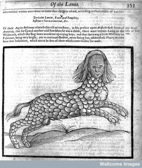 A lamia: a monster capable of assuming a woman's form, said to suck humans' blood; a vampire.