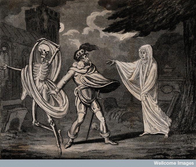 A man is confronted by a ghost and a skeleton.