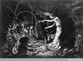 A witch at her cauldron surrounded by beasts.