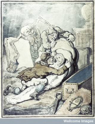 Men placing the corpse which they have just disinterred into a sack.