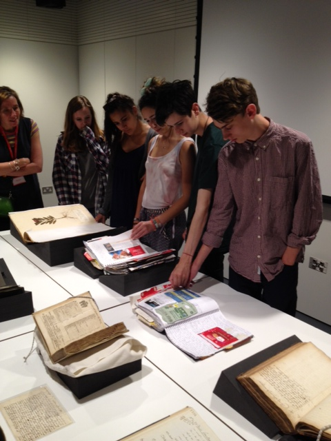 Students looking through the archive.