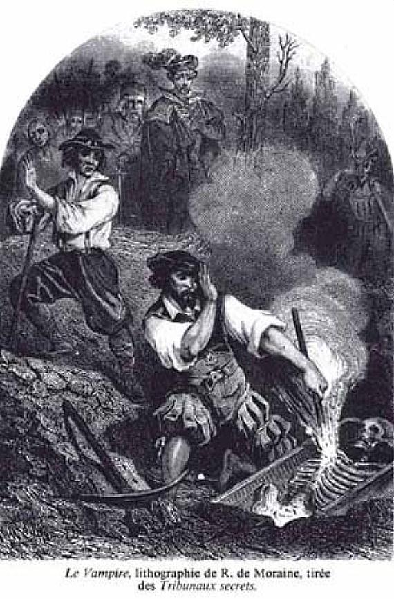 The Vampire, lithograph by R. de Moraine, 1864.