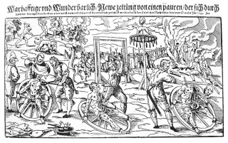 Woodcut of the execution of Peter Stumpp in 1589 at Bedburg near Cologne.