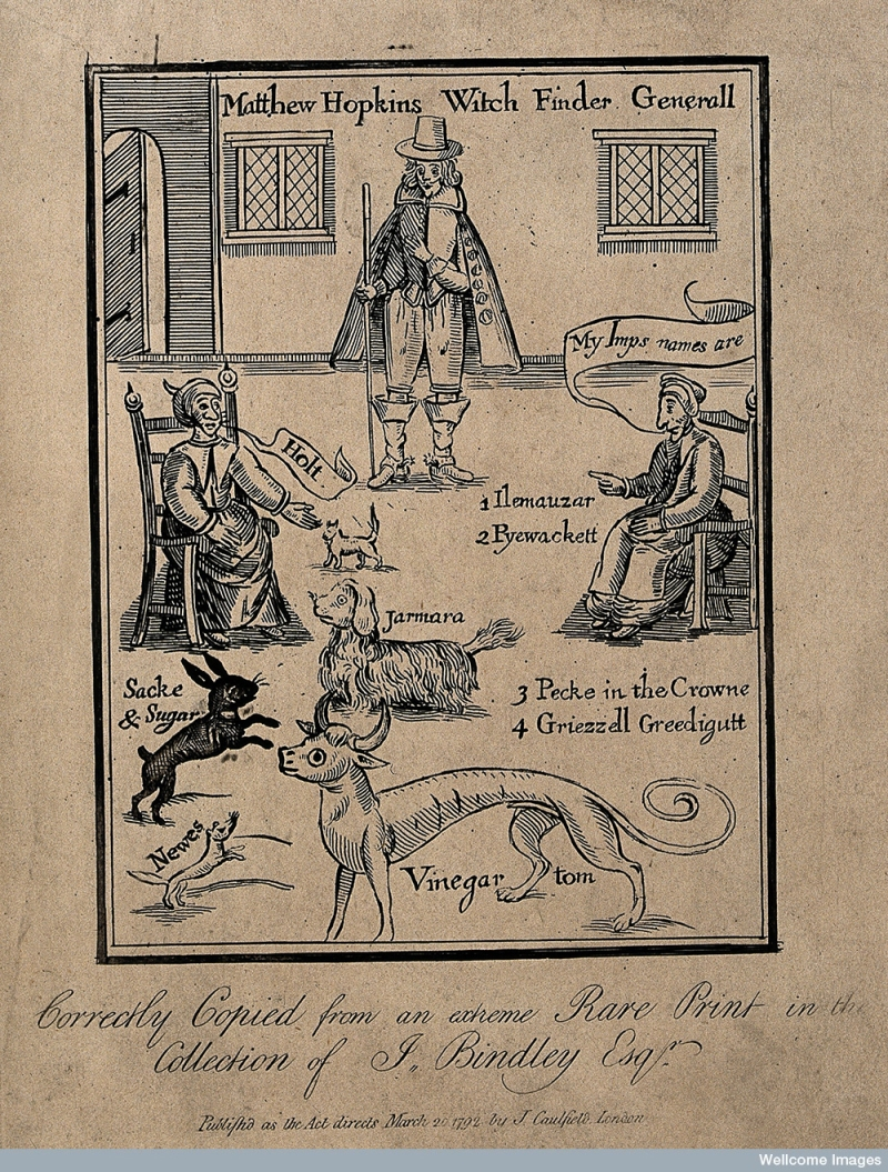 Matthew Hopkins, Witchfinder general, with two supposed witches calling out the names of their demons. 1772