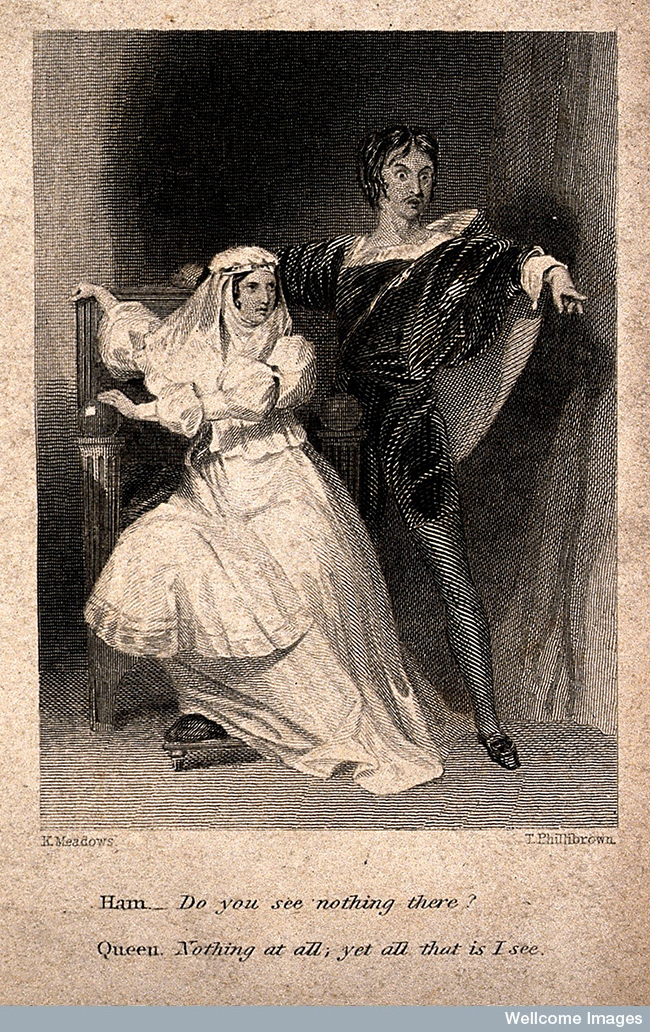 Hamlet pointing to a ghost and asking Gertrude if she can see it too.