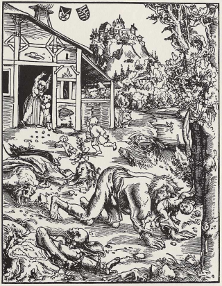 Woodcut of a werewolf attack, 1512.