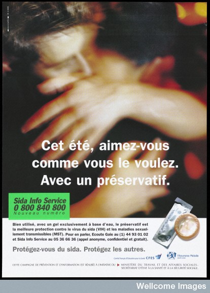 """French sexual health poster: """"Be as you want with a condom."""""""