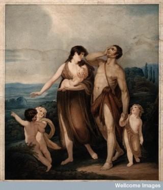 Adam and Eve journeying with three children.
