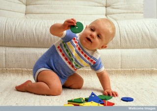 Baby playing with toys of different shapes and colours. (Credit: Anthea Sieveking, Wellcome Images)