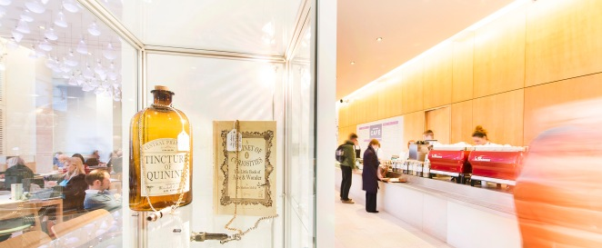 One of the displays in Wellcome Shop, looking in the direction of Wellcome Cafe.