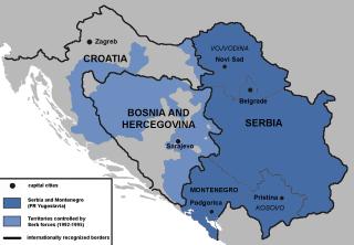 Bosnia and Hercegovina, Croatia, Serbia map.