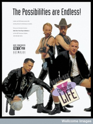 A group of men dressed in leather and S/M outfits.